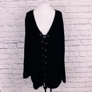 NWT Black Sweater with criss cross ties